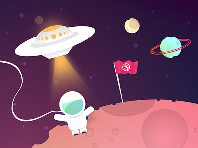 Planet Dribbble - Invite Giveaway alien ufo fun planet illustration astronaut space giveaway dribbble invite
