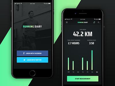Running Diary App challenge minimal nike run stats sport clean dark ios app running ui