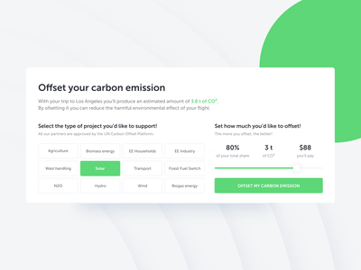 Carbon Offset Tool user interface ui green green app carbon global warming clean minimal travel app slider calculator eco friendly