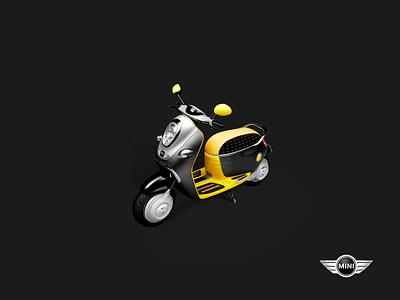Mini scooter icon polish bike moto scooter model vespa 3d
