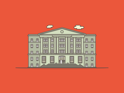 Old University house building flat lines icon illustrator vector graduate college university
