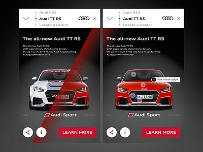 Audi Sport app advert screen ios ui interaction mobile rs tt sport audi car