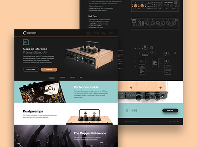 Cu volume track concert page design web landing ui interface audio music traction