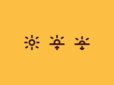 Sun icons meteo weather system pictogram design icon sunset sunrise sun