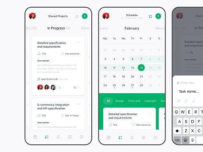 To-do list tool, p2 to do list management ui project management product design calendar schedule productivity mobile ios app