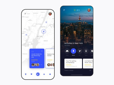 Travel app service rating guide mobile ui map travel app travelling location travel ios app