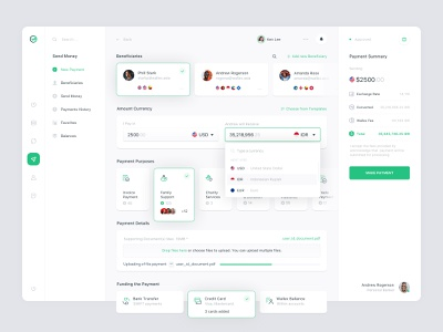 Wallex exchange management banking finance transfers dashboard layout payment currency