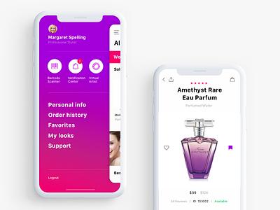 MakeUp app makeup product app e-commerce perfumery profile ios