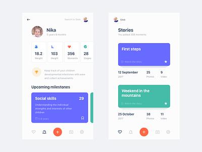 Kids Diary App dashboard tracking children stories mobile app diary kids