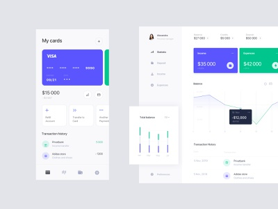Online banking wallet layout ui profile statistics data banking fintech finance app dashboard ios mobile