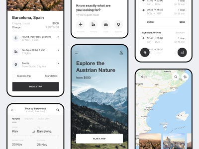 Travel agent app map guide booking travel mobile app