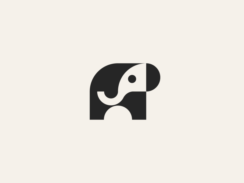 Elephant minimal logodesign negative space animal elegant illustration icon symbol modern geometric mark logo