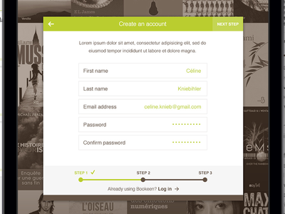 Reading app: Create an account app book ipad android bookeen ebook kindle reader create account login