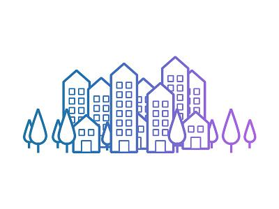 Illustrations Boxmyjob - City illustration town building tree gradient hire job city