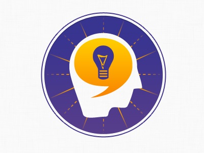 Consulting icon consulting purple orange brain bulb lamp chat bubble