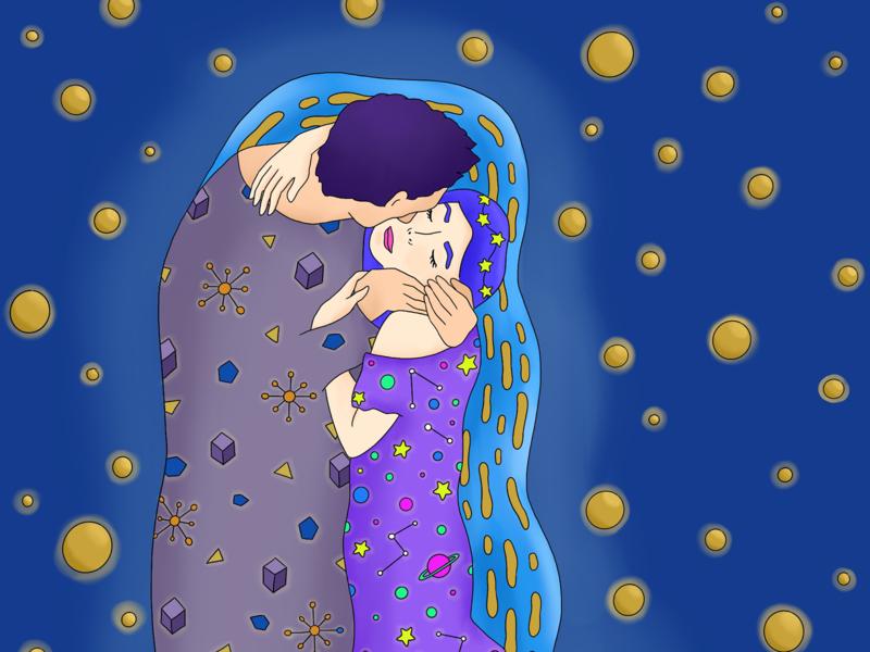 The kiss visual design illustration procreate photoshop illustrator graphic design