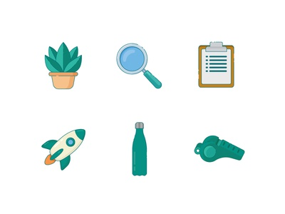 Culture.fun icon set whistle bottle rocket clipboard magnifying glass plant design illustrations culture icons set icons