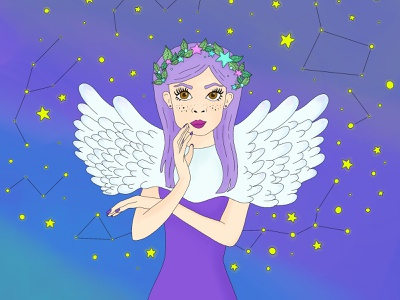 Valkerie galaxy illustration space stars flowers angel valkyrie