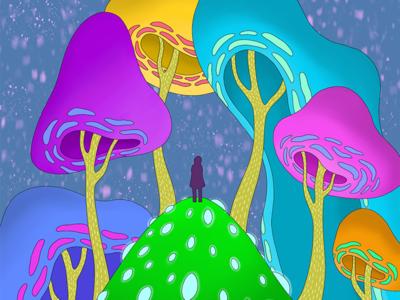 Weight of the world around you neon handdrawn procreate imagination forest trippy illustration photoshop graphic design illustrator