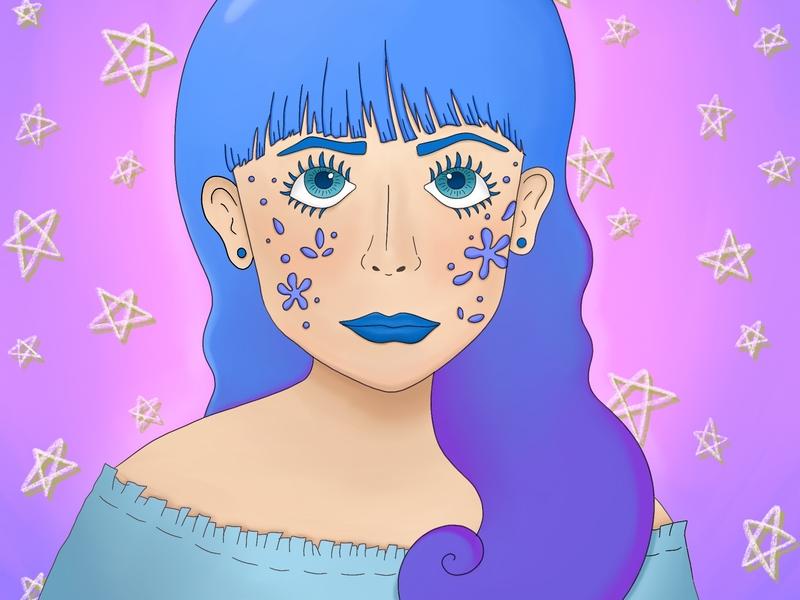 Looking at the Stars illustration digital shading star pastel kawaii procreate illlustrator photoshop colors magic trippy drawing portrait illustration illustrator