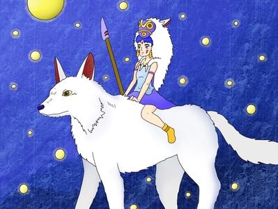 Princess Mononoke Fan Art digital illustrator night textures photoshop graphic design illustraion procreate wolves star princess mononoke fantasy fan art