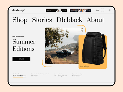 Douche Bags storie shop bags interface ux design ui design web design