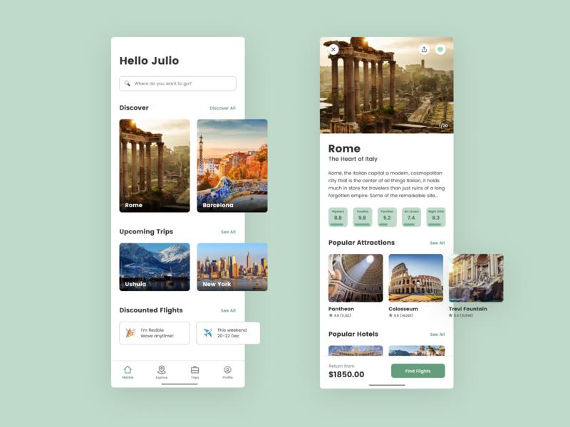 Travel & Flight Booking App ✈️ cities explore booking travel flights holidays ux ui