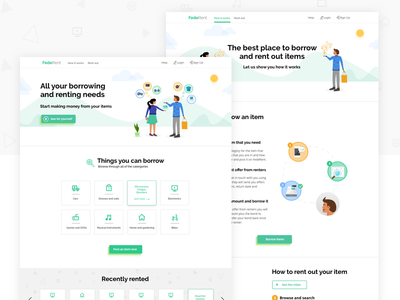 FedeRent Website Design website design disrupt start up illustration ui ux