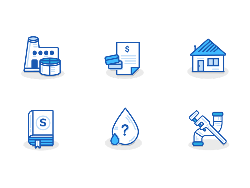 Utility Icon Set catergories. water utility illustrator interface ux ui icons
