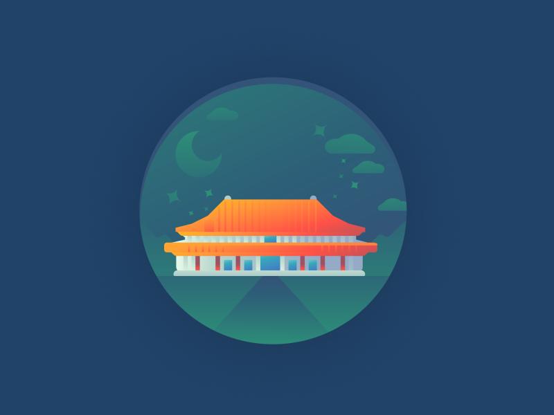 Forbidden City Temple   China temples china forbidden city temple digital design illustration