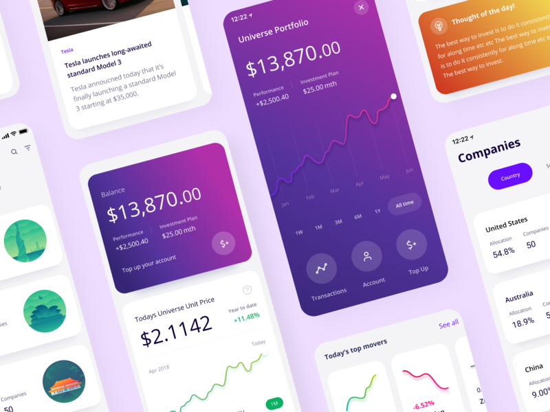 New Spaceship Voyager App banking investing fintech interface design app design ios ui ux