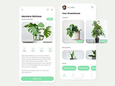 Plant App 🌱 app ios ferns succulents store app design ecommerce ux plants