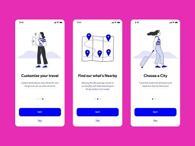 Travel App UI Design ui design ux ui illustration pink blue travel app design mobile