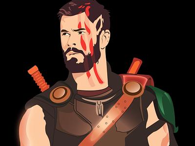 Thor Ragnarok vector ux illustration design