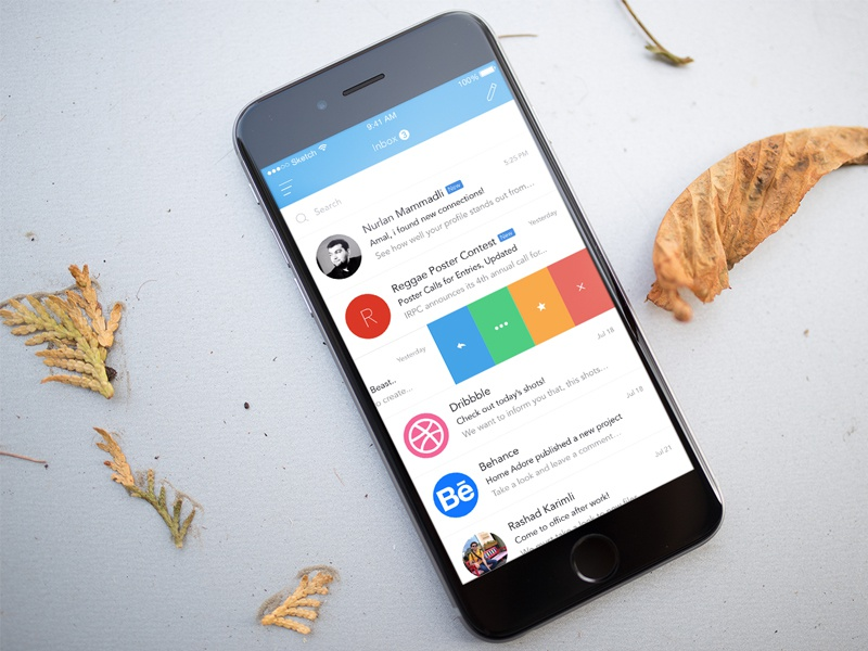 Mail.Ru Dribbble Competition iphone concept mailru flat redesign app mail