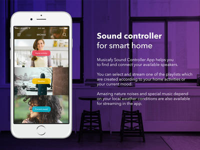 Musicafy - Smart Home Sound Controller App Concept home smart mood music flat minimal clean iphone app ux ui