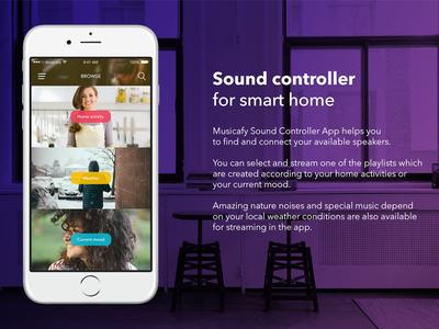 Musicafy - Smart Home Sound Controller App Concept