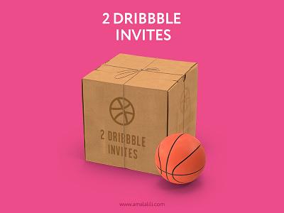 2 Dribbble Invites ball box two invites invitations dribblers dribbbleinvites dribbble drafted draft