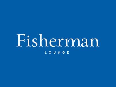 Fisherman typography restaurant concept lounge blue logo fisherman fish