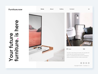 Furniture.now Home Page modern layout website furniture flat clean minimal ui ux design dailyui