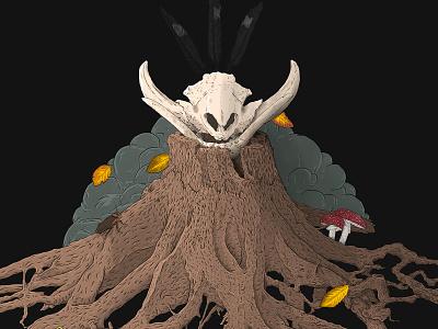 Eternal fall (WIP) feathers stump mushroom autumn leaves boar skull illustration
