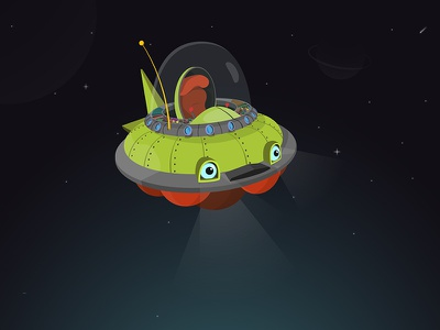 DigitaLearn | Flying saucer children learning cartoon dreamagine ufo seat eyes saucer flying