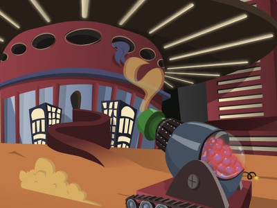 DigitaLearn | Orb Cannon illustration dust smoke cannon buildings space learning dreamagine children cartoon