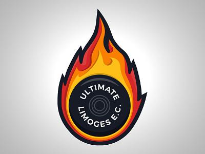 LEC Ultimate fire flames limoges frisbee disc flying design logo ultimate lec