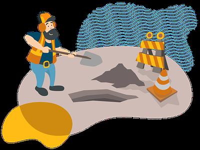 En chantier ! construction shovel worker beard vector illustration