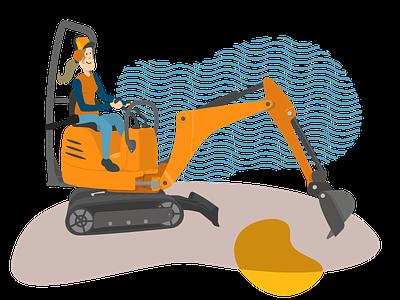 Excavator girl illustration construction worker shovel digger mechanical