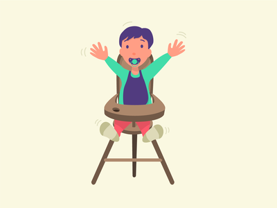 Bambin high chair teat illustration child baby