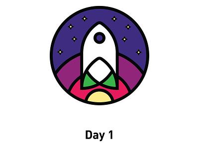 Day 1: Spaceship logo illustrator adobe grid logogrid gradient designinpiration graphicdesign logodesigner logo logos dailylogo aarondraplin day1 dailylogochallange