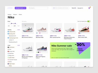 Catalog page for the Asia e-commerce product store webdesign web ui shop grid products design agency design studio product grid filters nike marketplace ecommerce