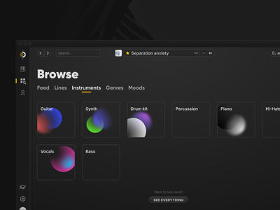 Output Arcade redesign designer dark app dark theme dark mode macos uidesign dark gray grey app desktop app macos app browse categories blocks gradient daw music software music